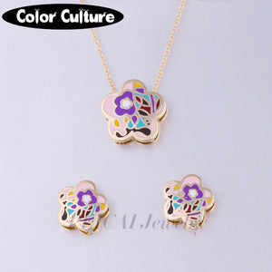 Vintage Costume Jewelry Flower Necklace Women Gold-color Square Pattern