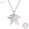 100% 925 Sterling Silver Stack Up Double/Two Stars Pendant & Chain