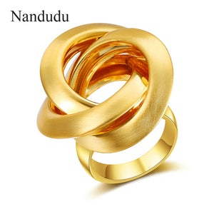 Nandudu New Gold & Silver Color Female Size Rings for Woman Knot Design