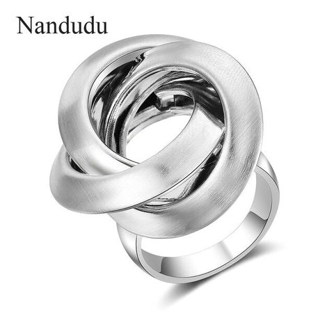 Image of Nandudu New Gold & Silver Color Female Size Rings for Woman Knot Design