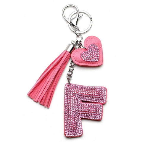Image of Love Heart Flower Letter Keychain Women Crystal Key Ring Handbag Pendant Charms