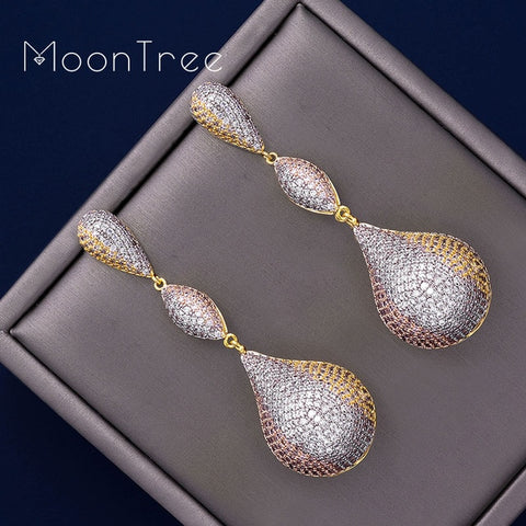 Image of MoonTree 65mm Luxury Trendy Ball Full Mirco Pave Cubic Zircon Earrings