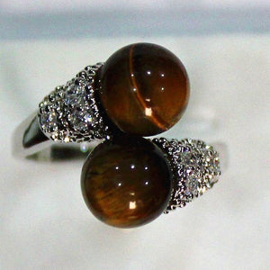 Natural Stone charming 8mm tiger eye stone ring P(#6 7 8 9)