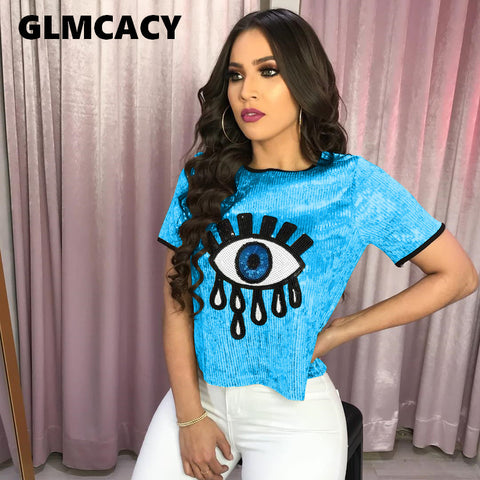 Image of Women Sequined Spliced Fashion T Shirts Ladies O Neck Short Sleeve Shiny