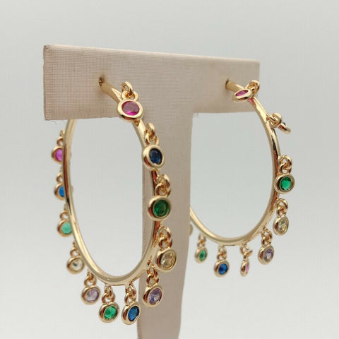 Image of Rainbow cz charm Earrings Gold Color hoops earrings