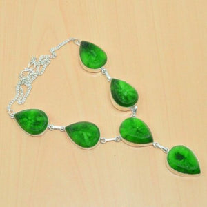 925 Silver Plated Green Titanium Druzy Long Necklace