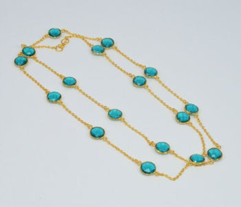 925 STERLING GOLD OVERLAY CUT TEAL BLUE QUARTZ NECKLACE