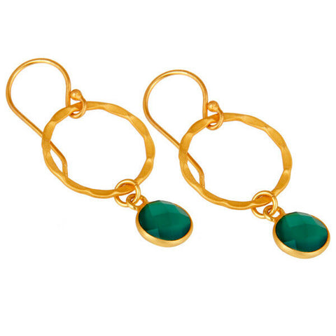 Image of Green Onyx 18k Gold Plated Sterling Silver Brass Hoop Earrings