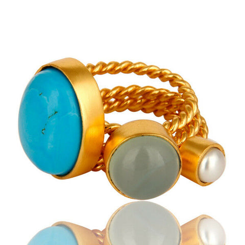 Image of Turquoise, Blue Chalcedony 18k Gold Plated Twisted Brass Ring 3 Pcs Set
