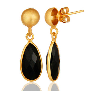 18K Gold Plated Black Onyx Brass Earrings