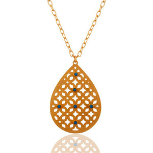 Many Variation Filigree Designer Pendant Necklace Brass Gold Plated