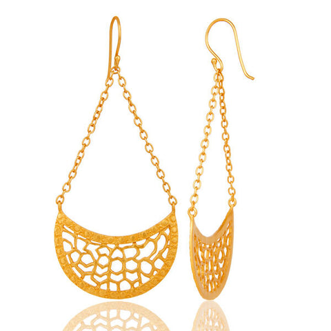 18K Gold Plated Brass Designer Dangle Chain Earrings Handmade Fashion Jewelry