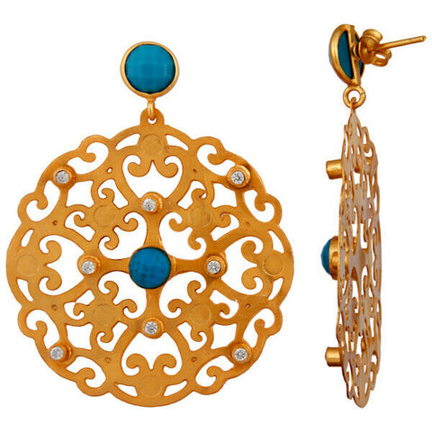 Image of Filigree Disc Design Drop Turquoise Earrings Gold Plated Brass