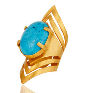Handmade Fashion Turquoise Gemstone Knuckle Ring 22K Gold Plated