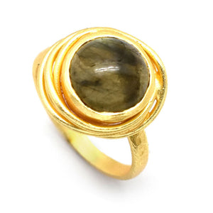 HANDMADE NATURAL LABRADORITE GEMSTONE 22K YELLOW GOLD PLATED RING SIZE 7