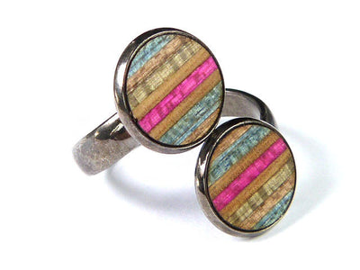 RECYCLED SKATEBOARD Adjustable Wood Ring Round Handmade