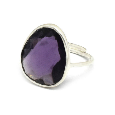 Image of FACETED AMETHYST GEMSTONE SILVER PLATED HANDMADE ADJUSTABLE RING