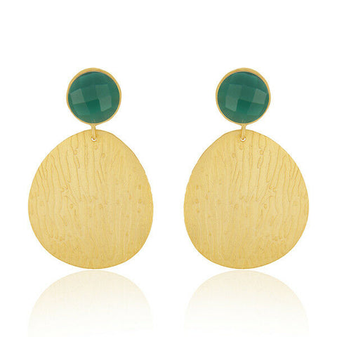 Image of 18K Gold Plated Brass Green Onyx Gemstone Party Wear Earrings