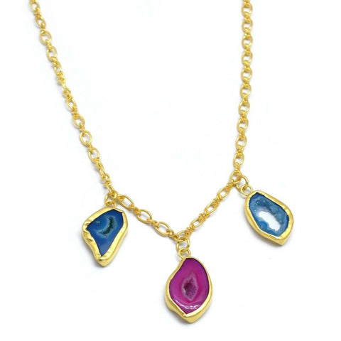 Image of DRUZY GEMSTONE YELLOW GOLD PLATED HANDMADE STATEMENT NECKLACE