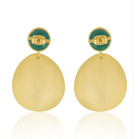 18K Gold Plated Brass Green Onyx Gemstone Party Wear Earrings