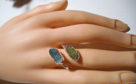 Image of Handmade 2 stoned Agate/Druzy crystal Ring, Blue & yellowish green Size 7.5