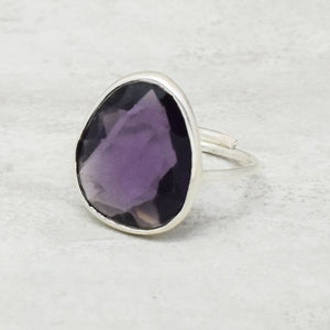 FACETED AMETHYST GEMSTONE SILVER PLATED HANDMADE ADJUSTABLE RING