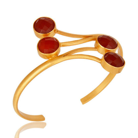 14K Yellow Gold Plated Handmade Red Onyx Gemstone Brass Cuff Bracelet