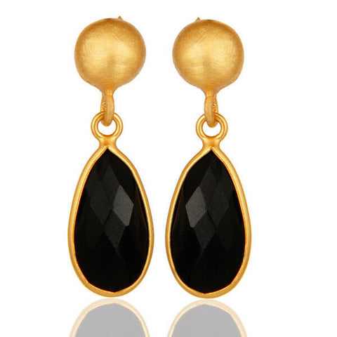 Image of 18K Gold Plated Black Onyx Brass Earrings