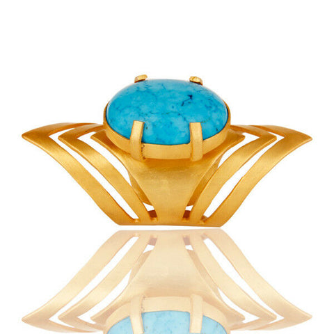Image of Handmade Fashion Turquoise Gemstone Knuckle Ring 22K Gold Plated
