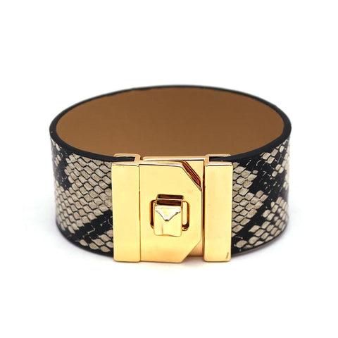 Image of Snakeskin grain wide bracelet female leather