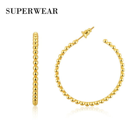 Image of SUPERWEAR Beaded Hoops Silver Plated Yellow Gold or Silver