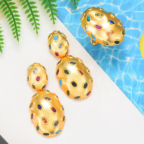 Image of GODKI 2019 Trendy Charms DUBAI Statement Earring Ring Jewelry Set
