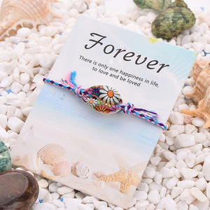 25 Styles Bohemian Print Charm Sea Shell Bracelet Colorful Rope Braided