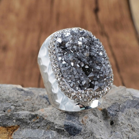 Image of Druzy Stone Ring Titanium