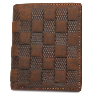 Crazy Horse Leather Men's Top Layer Leather Lattice Wallet Business Real Leather