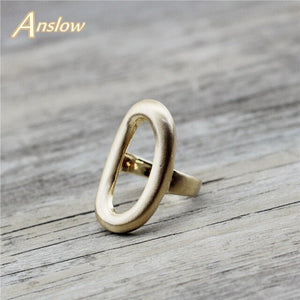 Anslow Unique Design Jewelry Brass Gold plated Oval Ring