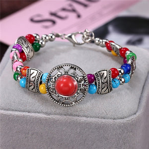 Natural Stone Colorful Snake Bangle Bracelets For Women Vintage