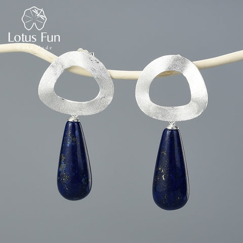 Image of Lotus Fun Natural Gemstone Dangle Earrings 925 Sterling Silver Handmade