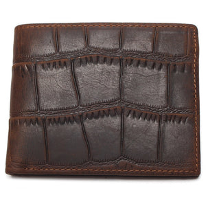 High Quality 100% Genuine Leather Wallet Crocodile Style Crazy Horse Leather Wallet
