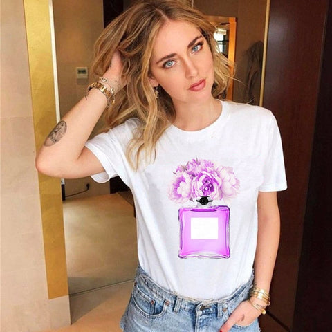 Fashion T Shirt Flowers Bottle Graphic Print