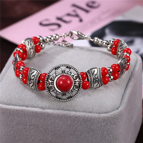 Image of Natural Stone Colorful Snake Bangle Bracelets For Women Vintage