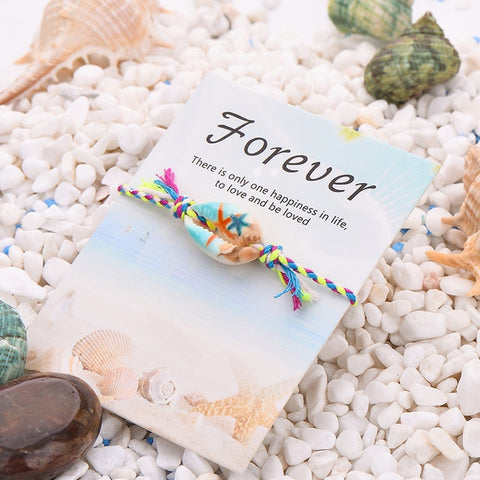 Image of 25 Styles Bohemian Print Charm Sea Shell Bracelet Colorful Rope Braided