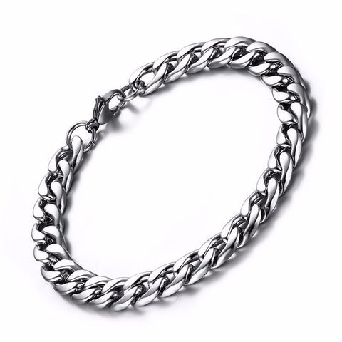 Double Layered Curb Chain Bracelets for Men Stainless Steel Links