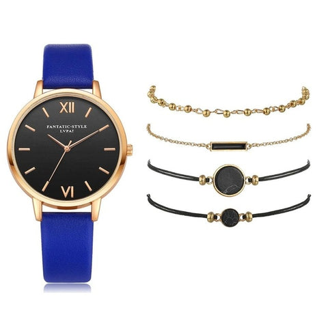 Image of Watch Set Women 5pcs Woman Quartz Wristwatch Leather Ladies Bracelet