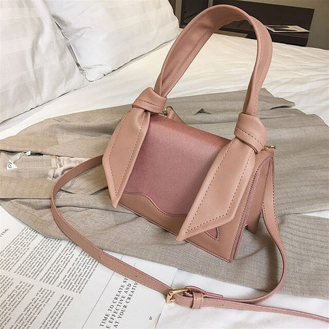 Contrast color Square Tote bag 2020 High Quality PU Leather
