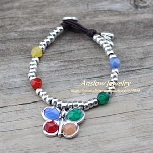 Anslow Color Resin Charms Beads Leather Bracelet