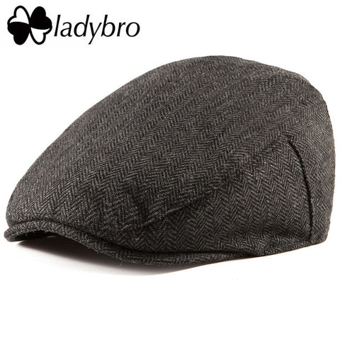 Image of Ladybro Casual Men Newsboy Cap Irish Tweed Ivy Hat Flat Cap Autumn Winter Hat