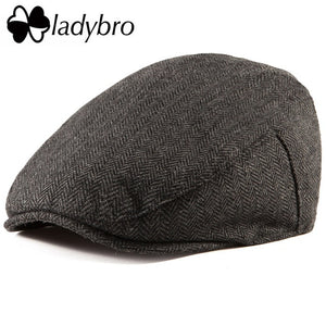 Ladybro Casual Men Newsboy Cap Irish Tweed Ivy Hat Flat Cap Autumn Winter Hat