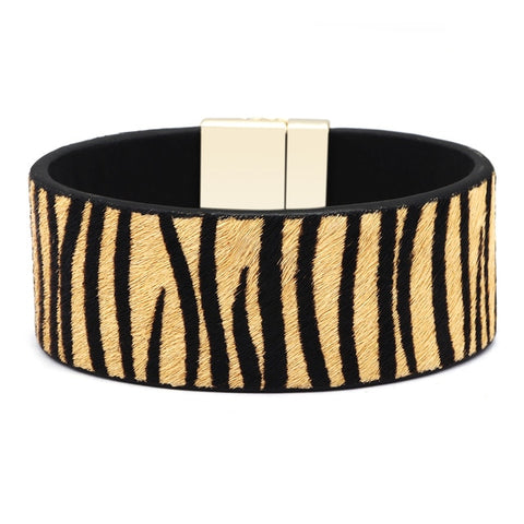 Image of Seanuo Real Horse Hair Animal Print Leather Bracelet