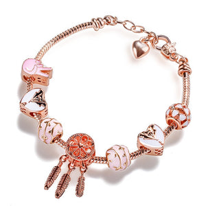 Beiver Fashion European BeadsAdjustable Rose Gold Charm Bracelets